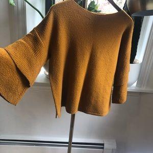 Madewell Bell Sleeve Boatneck Mustard Sweater